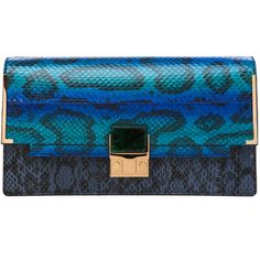 Lanvin Partition Snake Clutch in Electrical Blue ($3,400) ❤ liked on Polyvore