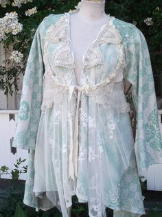 Bohemian chic fairy gypsy  tattered Lace  jacket /top