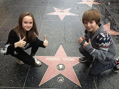 Isabelle Allen and Daniel Huttlestone at Russell Crowe's star