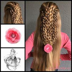 Eight strand basket braid with loop braids and a gorgeous flower from the webshop www.goudhaartje.nl (worldwide shipping). Hairstyle inspired by: @hair_glamour1 and @monikbraids (instagram) #braids #hairfashion #peinado #hair #trenza #hairinspiration #hairpost #hairdo #braiding #hairinspo #coiffure #hairfeed #hairstyle #plait #promhair #weddinghair