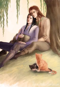 Maedhros and Fingon, before darkness falls (pinning because omg look at the cuteness. They even have matching kittens ^^)