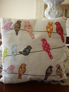 Cushions 2019 Mouse over image to zoom Have one to sell? Sell it yourself Shab… Cushions 2019 Mouse over image to zoom Have one to sell? Sell it yourself Shabby Chic French Provincial Colourful Birds on a line Decorative Cushion More The post Cushions Hand Embroidery, Machine Embroidery, Pillow Embroidery, Embroidery Patches, Embroidery Ideas, Quilt Patterns, Sewing Patterns, Sewing Crafts, Sewing Projects