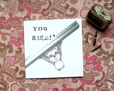 You Rule Card Teacher Thank you card School by BEEautifulcreatures