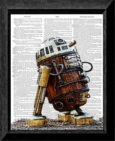 R2D2 Steampunk Star Wars Print on Dictionary by TheArtsVillalba