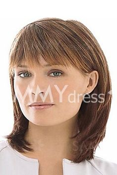 Trendy Natural Straight Mixed Color Capless Fluffy Medium Synthetic Inclined Bang Wig For Women