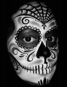 Sugar skull in black and white by Catherine Pannulla