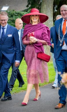 Queen Maxima was dressed for the occasion in head-to-toe fuchsia during the Dutch Rose Association Symposium.  Photo: Patrick van Katwijk/Getty Images