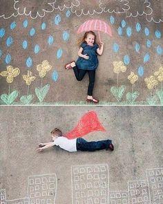 Super amei essa ideia de usar giz colorido e montar cenários criativos para as crianças tirarem umas fotinhos originais...super divertido e o efeito fica super bacana! #gizcolorido #fotografia #ideias #inspiração #fotoscriativas #fotosdecriança #cenáriosdivertidos #diy