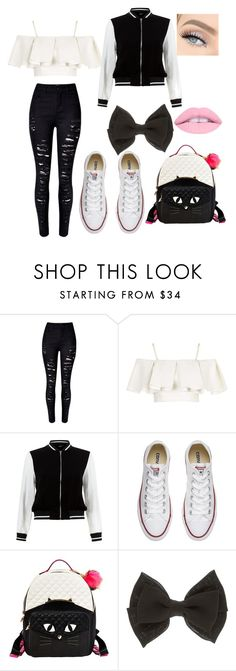 """""""Black and white outgoing outfit"""" by emily-pugh-i ❤ liked on Polyvore featuring WithChic, Topshop, New Look, Converse and Betsey Johnson"""