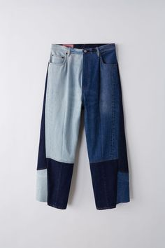Slow Fashion, Mens Fashion, Patch Pants, Patchwork Jeans, Recycled Denim, Indigo Blue, Acne Studios, Denim Jeans, Innovation