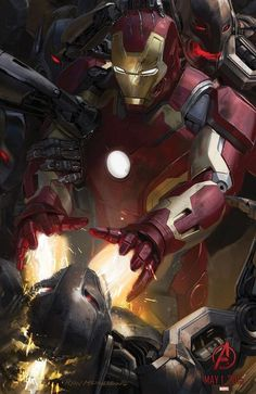 Sneak Peak at #Avengers Age of Ultron Concept art. Iron Man v Ultron. Look how shiny... #SDCC