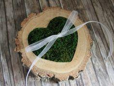 Ringkissen Holz, eingelassenes Moosherz, Chiffon