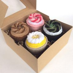 Felt Food: 4 Felt Cupcakes -- 4 handmade hand stitched plush felt cupcakes with beads for pretend play, tea set, tea party, gift for girls