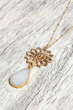 Stitch and Stone Filigree Flower Druzy Teardrop Necklace in White