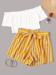 Multicolor Off Shoulder Top and Self Belted Shorts Set - Summer Outfits Teenage Girl Outfits, Girls Fashion Clothes, Teen Fashion Outfits, Fashion Kids, Tween Girls, Emo Fashion, Fashion Dresses, Women's Dresses, Gothic Fashion