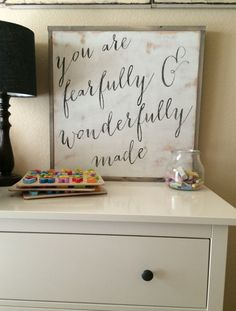 You are fearfully and wonderfully made Psalm 139:14 sign nursery bedroom decor square wood by TheSignCo