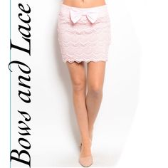 PALISADE pink lace bow mini skirt PALISADE pink lace bow mini skirt. This dainty mini features a gorgeous all over lace pattern and a bow on the the front for an added feminine touch. Material: 95% polyester, 5% spandex. Available in sizes S, M & L. Measurements available upon request. No trades. Price firm unless bundled. Thank you for visiting my closet! Size S pictured above. Boutique Skirts Mini