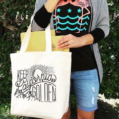 Screenprinted Cali totes made by Golden State Wax. #MadeWithLumi