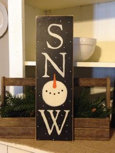 Snowman SignWinter SignSnow SignPrimitive by DaisyPatchPrimitives - My Wood Crafting Christmas Wood Crafts, Snowman Crafts, Christmas Signs, Rustic Christmas, Christmas Art, Winter Christmas, Holiday Crafts, Christmas Decorations, Christmas Ornaments