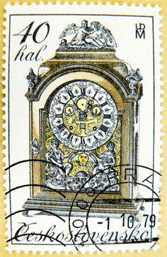 great czech stamp Czechoslovakia Ceskoslovensko postage 40 old watch grandfather clock