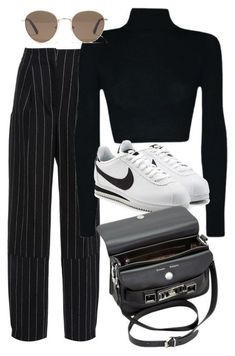 Stripped pants, black turtleneck, adidas sneakers and the perfect accessories to make this look