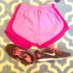 NWOT Adorable Nike Shorts These shorts are super cute, but I like my shorts oversized. Perfect for relaxing or working out. With lilac in the front and dark orchid in the back. Nike Shorts