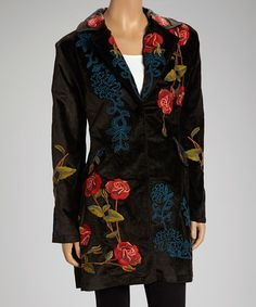 Take a look at this Brown Rose Patch Coat by Bella Carra on #zulily today!