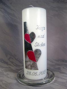 Hochzeitskerzen & Beleuchtung - Hochzeitskerze - Herzen - ein Designerstück von Kerzenswuensche bei DaWanda