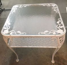 woodard vintage wrought iron chantilly rose pattern patio two tiered table