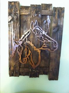 Even though the horses on the first picture are not pallet material (barn lumber) the background is. The second set are done with pallet materials from a bed store.    #Art, #Canvas, #PalletFrame, #RecycledPallet