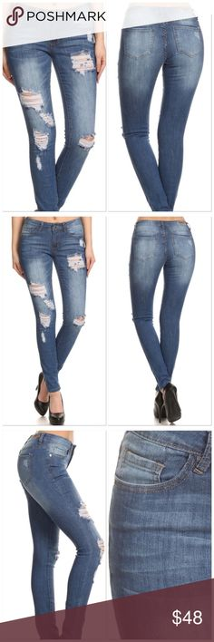 🆕Blue Mid Factory Ripped Thigh & Knee Skinny Jean ❤️Medium Blue Wash Factory Destroyed & Shredded Mid-rise Skinny Jeans With Rips Through The Thighs & Both Knees❤️ Jeans Skinny