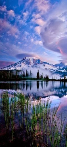 Reflections of Mt. Rainier in Washington
