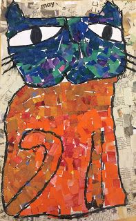 Laurel Burch Collaged Cats Materials: Painted paper, newspapers, glue, paint, paper (12x18) Artist Focus: ...