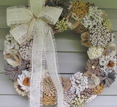 Wedding decorations fabric flower wreath by lisesimplecreations, $59.00