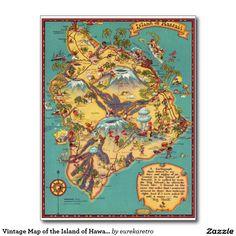 ハワイの島のヴィンテージの地図 葉書き #map #hawaii
