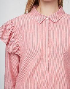 Chemise rayée manches volants - Blouses et chemises - Vêtements - Femme - PULL&BEAR France