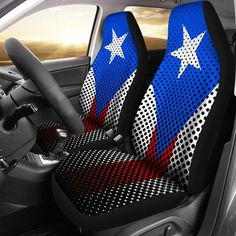 Do you love PUERTO RICO? If so, you'll love these custom car seat covers.Covering your car, truck, or SUV's seats can keep your interior looking new for resale, cover existing damage, or even personalize your interior to suit your taste and interest. A car is one of the most expensive purchases the average person makes Truck Seat Covers, Custom Car Seat Covers, Puerto Rico, Puerto Rican Flag, Puerto Rican Culture, Honda Cars, Everyday Activities, Custom Cars, Body Art Tattoos