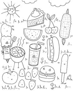 Coloring Pages BBQ Summer SheetsColoring BooksFood