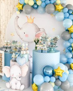 All Details You Need to Know About Home Decoration - Modern Baby Shower Decorations For Boys, Boy Baby Shower Themes, Baby Shower Balloons, Baby Boy Shower, Decoration Originale, Elephant Baby Showers, Boy Decor, Deco Table, Cool Baby Stuff