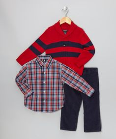 Take a look at this Cherry & Navy Stripe Pullover Sweater Set - Infant & Toddler by Nautica on #zulily today!
