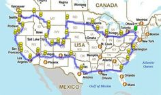 Map of route to see all major US landmarks.