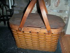 Vintage Picnic Basket, Wicker Picnic Basket, Large Baskets, Previous Life, I Shop, Quote, Display, Storage, Wood