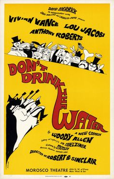Woody Allen's Don't Drink the Water originally opened on Broadway on 17 November running for 589 performances Broadway Plays, Broadway Theatre, Broadway Shows, Broadway Posters, Theatre Posters, Theatre Shows, New Comedies, Window Cards, Woody Allen