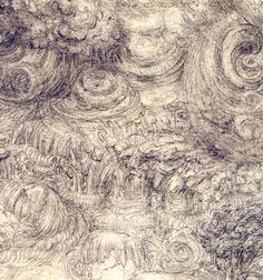 81. A Deluge, 1517, Black chalk on brown paper