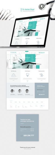 Stomatology - Logo and web design for advanced dentistry Munich - - Design Websites, Web Design Tips, Layout Design, Web Layout, Logo Design, Design Color, App Design, Web Design Studio, Web Design Company