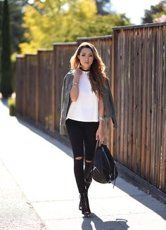 a great look for the upcoming cooler weather. I love anoraks and how they just add a coolness to any look. Of course, ripped denim and cute booties don't hurt either. Have a great day!