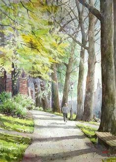 Takashi Akasaka Watercolor Pictures, Watercolor Trees, Watercolor Sketch, Watercolor Landscape, Landscape Art, Landscape Paintings, Watercolor Paintings, Watercolors, Japanese Watercolor