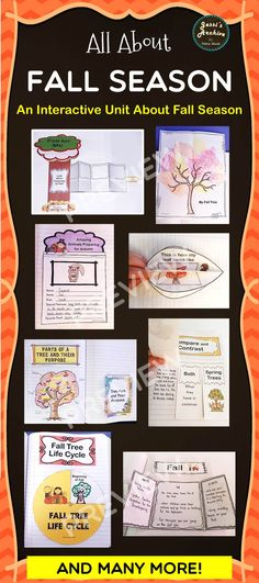 Fall Fall Ideas Fall Activities - 62 pages - Fall is fun and so is this packet! Loaded with 15 supplemental interactive and fun activities for your students' journal. This pack is great way to integrate with your Fall theme or lesson. Simply print the pages, cut, assemble and stick them in your notebook.