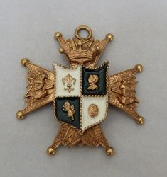 "3 1/8"" VTG CORO ENAMEL CROWN KNIGHT LION COAT ARMS SHIELD MALTESE CROSS PENDANT"
