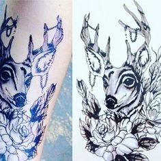 #tattoos #deer #flowerstattoo #deertattoo #old7thtattoos #temporarytattoos #inked
